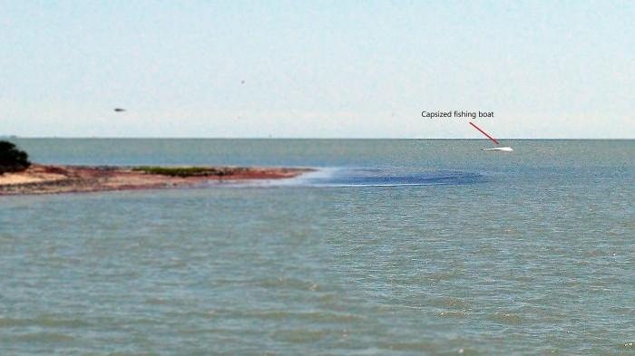 A capsized boat