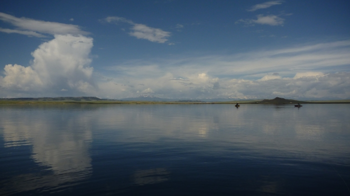 Fly fishing on Spinney Mountain Res from the Pontoon boat
